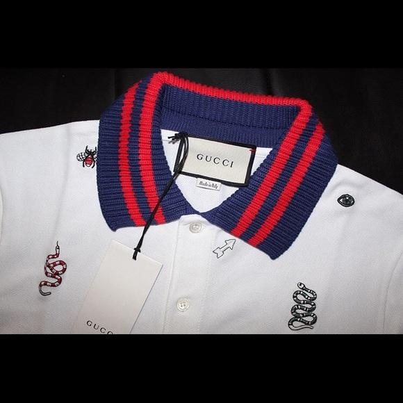 fd8387579b0dec Gucci Cotton Polo with Embroideries